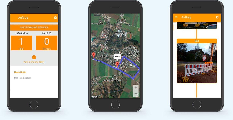Darstellung der App auf dem Handy