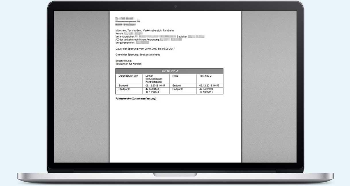 PDF-Protokoll einer Kontrollfahrt