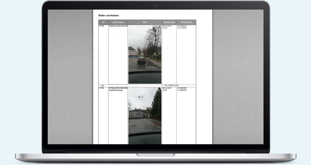 PDF-Protokoll: Aufgenommene Bilder mit Koordinaten und Zeitstempel
