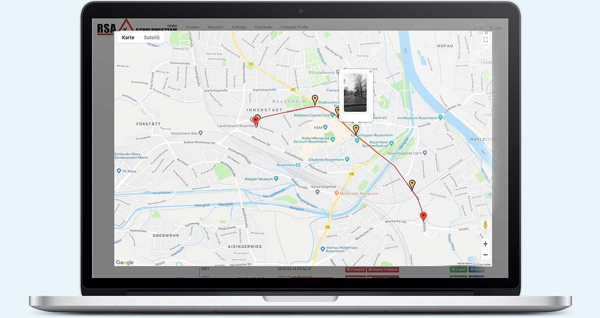Darstellung der gefahrenen Strecke inkl. Fotos
